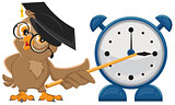 Owl teacher with glasses. Owl teacher shows pointer on the clock. Alarm clock
