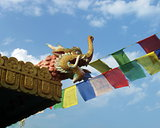 Tibetan Monastery Roof Mythological Creature