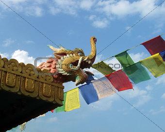 Tibetan Monastery Roof Mythological Creature