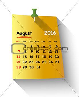 Flat design calendar for august 2016