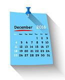 Flat design calendar for december 2016