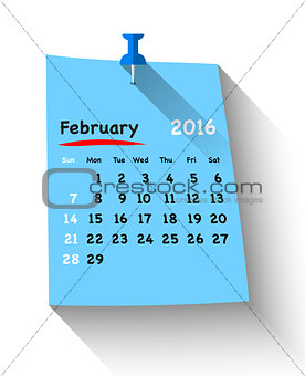 Flat design calendar for february 2016