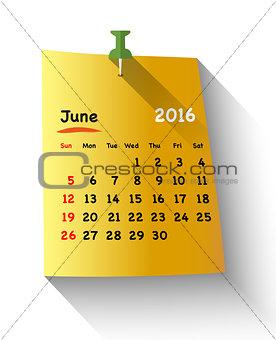 Flat design Calendar for june 2016
