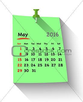 Flat design calendar for may 2016