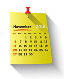 Flat design calendar for november 2016
