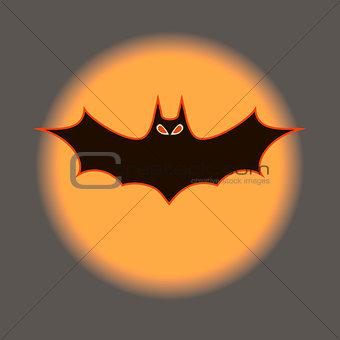 Bat against a background the orange moon