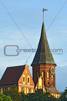 Tower Konigsberg Cathedral on a summer evening. Kaliningrad, Rus
