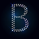 Gems B letter. Shiny diamond font.