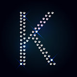 Gems K letter. Shiny diamond font.