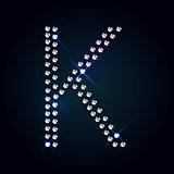 Gems K letter. Shiny diamond font.