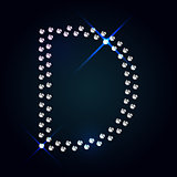Gems D letter. Shiny diamond font.