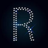 Gems A letter. Shiny diamond font.