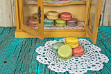 French macaroon in cupboard