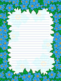 Sheet of notepad with floral frame in blue hues