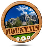 Mountain - Wooden Symbol with Peak