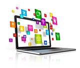 flying apps icons and laptop Computer isolated on a white backgr