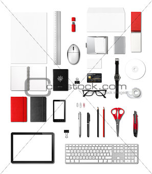 Office supplies mockup template, white background