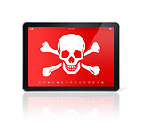 digital tablet PC with a pirate symbol on screen. Hacking concep