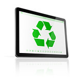 Digital tablet PC with a recycle symbol on screen. environmental