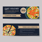 set of food voucher discount template design