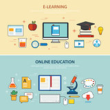 online education and e-learning banner flat design template