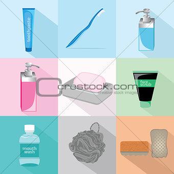 Bath Accessories Set Illustration