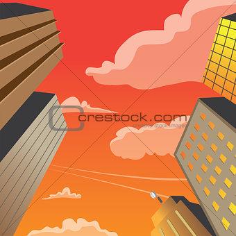 Skyscraper Building Perspective Night Scene