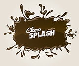 Chocolate splash with drops