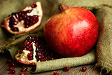 Ripe pomegranate with red seeds