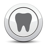 tooth icon, silver button. eps 10