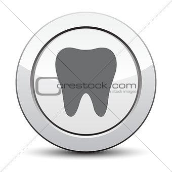 tooth icon, silver button. eps 10