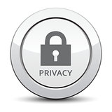 privacy lock icon, silver button. eps 10