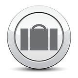 luggage  icon, silver button. eps 10