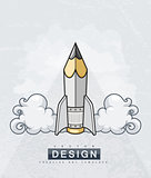 Creative design concept with pencil tool as rocket