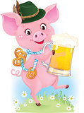 Cute dancing piglet is holding beer glass and pretzels