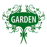 Green vector logo of floral ornament for the garden
