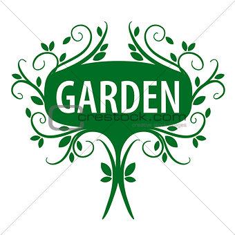 Green vector logo of floral ornament for the garden