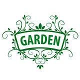 Green vector logo ornament from plants for the garden