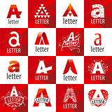 large set of vector logos letter A