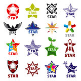 large set of vector logos star