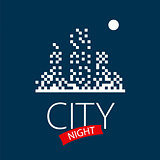 vector logo night city and moon