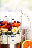 Blender with fruit and yogurt