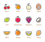 Fruits and berries color icons.