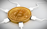 USB Wires Connected To The Bitcoin