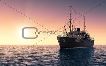 Cargo Ship Against The Evening Sky