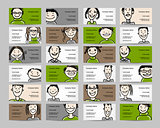 Business cards with people icons, sketch for your design