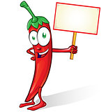 mexican chili cartoon isolated with signboard on white backgroun
