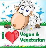 sheep cartoon with vegetarian and vegan banner