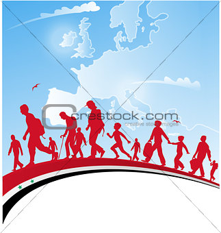 immigration people with syrian flag on background