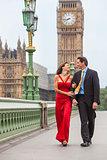 Romantic Couple on Westminster Bridge by Big Ben, London, Englan